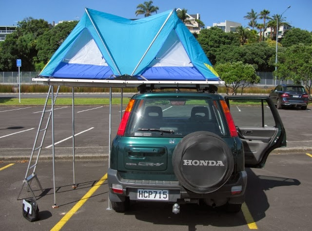 The outer canvas removed to show the inner tent; the four extra support props can be seen under the left hand side. & Maunie of Ardwall: The Camping Car