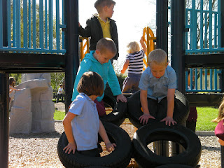 angled car tyres in playpark