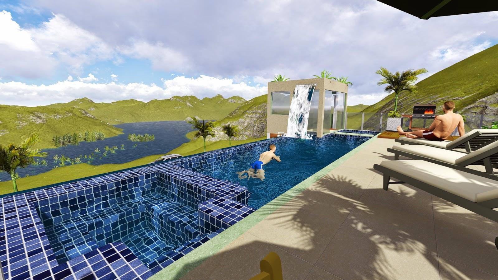 Projetos de piscinas raoni projeto de piscina em 3d for Piscina 3d