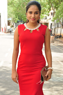 Vrushali Gosavi looks cute and spicy in a tight Red Dress at Vaadu Nenu Kadhu Muhurat