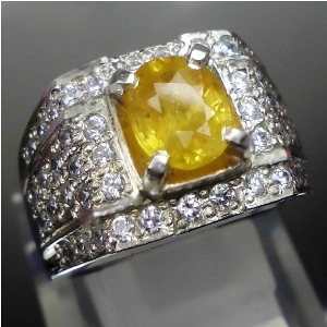 Cincin Batu Permata Yellow Sapphire, safir asli natural garansi, batu mulia langgeng permata