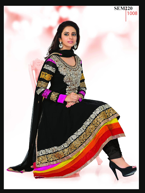 Bollywood Actress Rakul Preet Sing Long Anarkali Suit