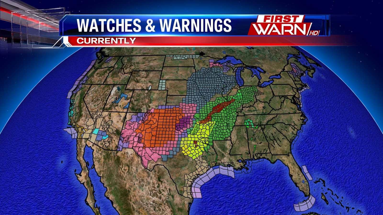 with those two extremes you can see how strong and potent this storm system is the map to the left shows the current watches and warnings
