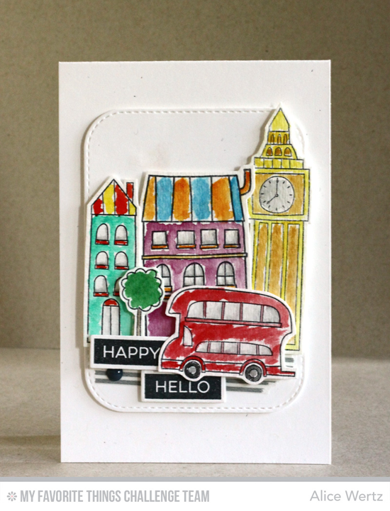 Happy London Hello Card by Alice Wertz featuring the London Mouse stamp set and Die-namics and the Label Maker Sentiments stamp set and Label Tape Die-namics #mftstamps