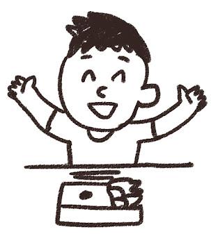 お弁当を食べる男の子のイラスト 白黒線画