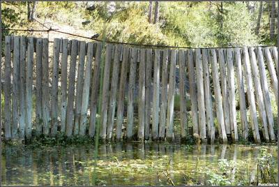 Valla que impide la entrada por el Río Escabas a El Hosquillo