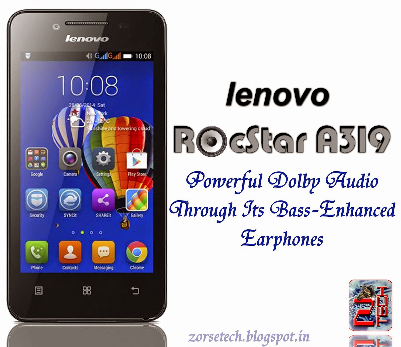 lenovo rocstart a319 with 4 inch wvga touch screenm 800x480p resolution, 512 MP RAM, 5 MP rear camera, 2 MP front camera, 1500 mAh battery