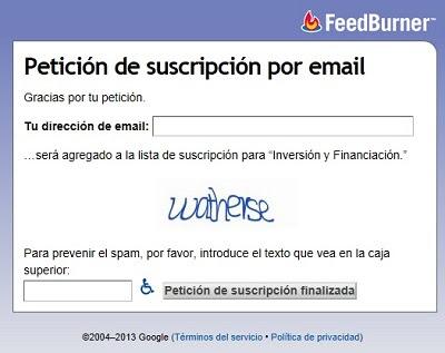 Registro de usuarios con Feedburner