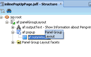 Drop af:noteWindow component under popup