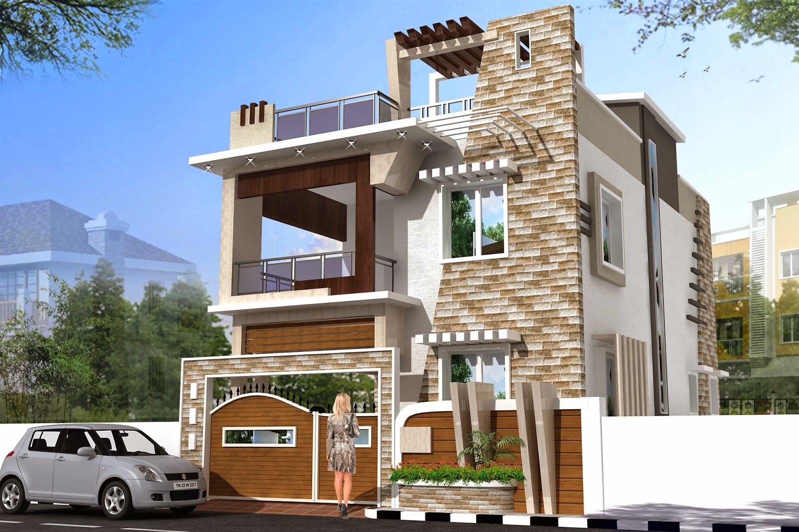 Luckydesigners 3d elevation residential building for Elevation plans for buildings