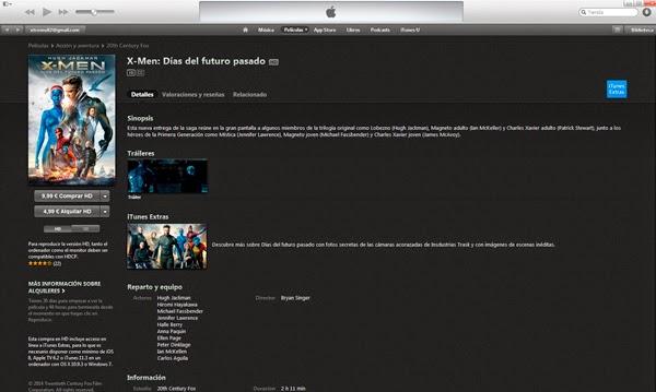 iTunes Store X-Men: Días del Futuro Pasado