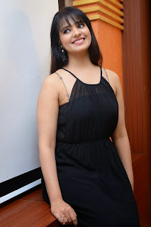 Actress Saloni Aswani Picture Gallery in Black Long Dress at (GAMA) Gulf Andhra Music Awards 2014 Press Meet  8.JPG