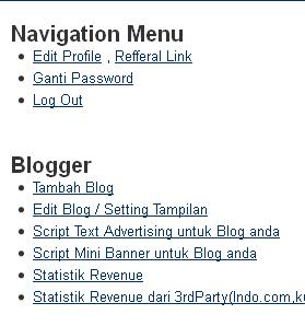 Navigasi Menu Kumpul Blogger