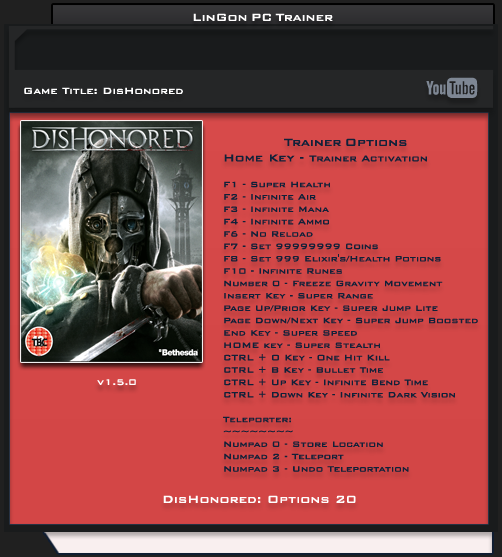 Dishonored v1.5.0 Trainer +20 [LinGon]