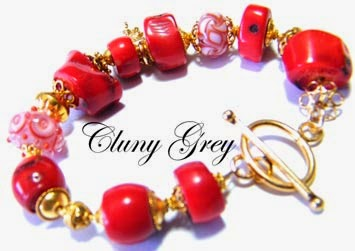 coral bracelet with lampwork beads and vermeil