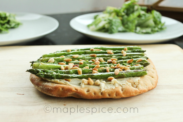 Asparagus, Peppered Almond Feta and Pine Nut Pizza