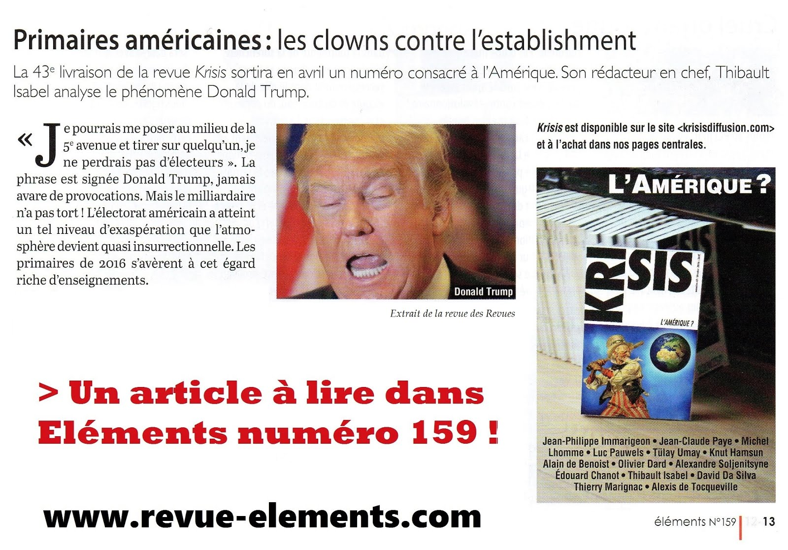 LISEZ ELEMENTS n°159 et KRISIS n°43 !