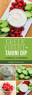 Greek Yogurt and Tahini Dip for Tomatoes and Cucumbers [found on KalynsKitchen.com]