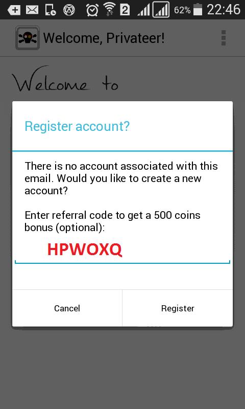 Masukan Referral Code untuk mendapatkan bonus