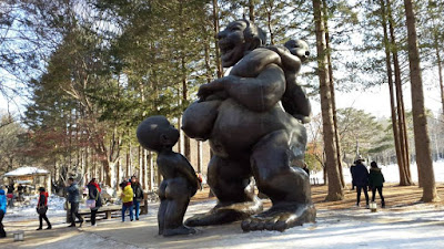 Laughing Statue in Nami Island South Korea