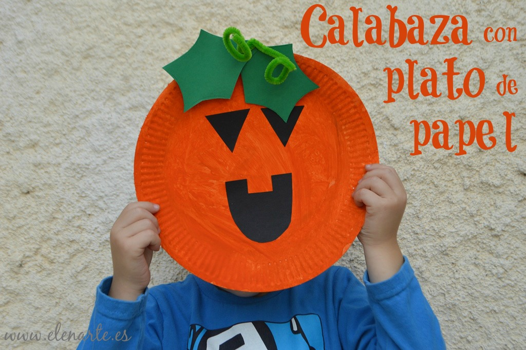 Calabazas De Halloween Con Un Plato De Papel Elenarte - Calabaza-de-papel