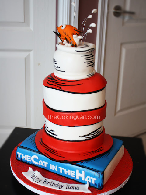 3d sculpted cat in the hat cake