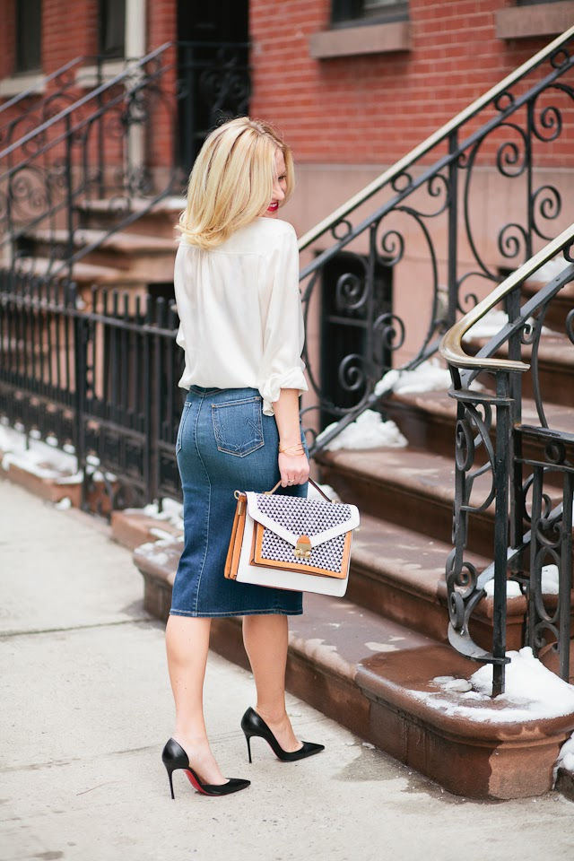 jean skirt women's outfit inspiration