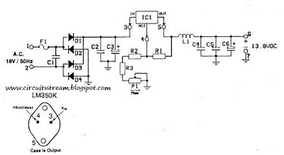 12-14 Volt 3A - Anti-RF Filtered Power supply Circuit Diagram