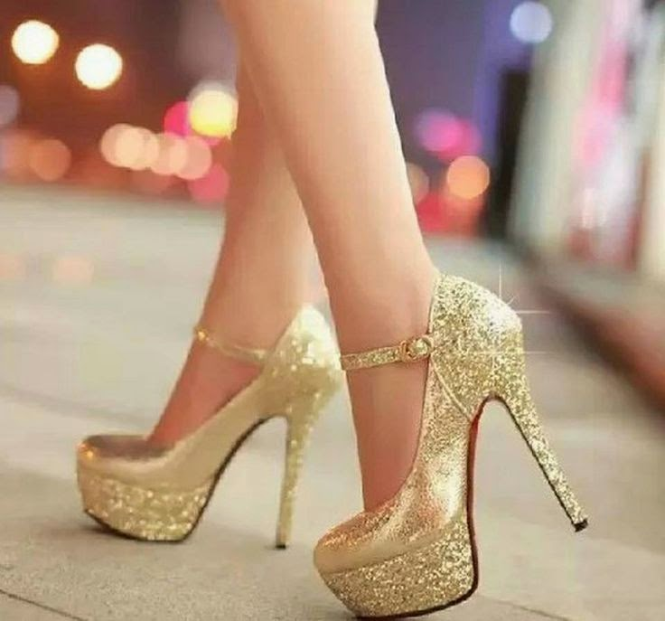 Gold Sparkly High Heels Shoes