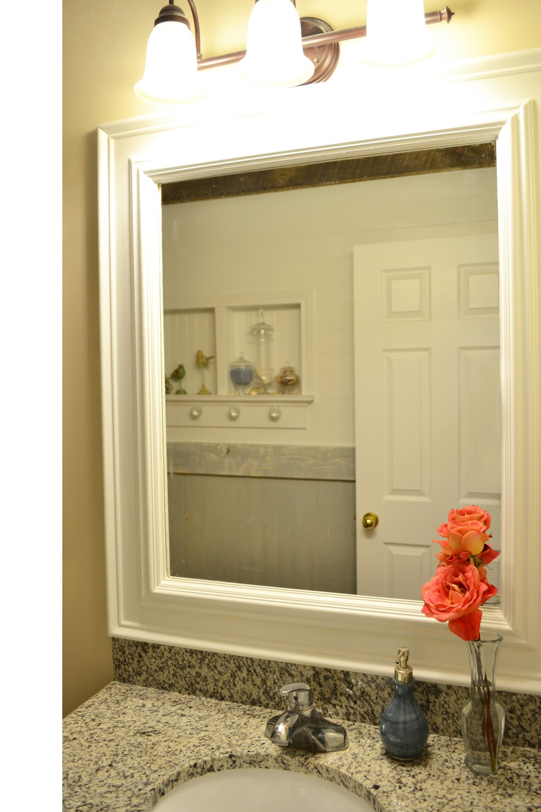 Deck out my home what you can do with 80 of trim - Frame bathroom mirror with moulding ...