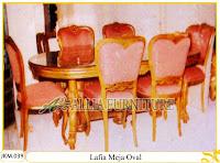 Kursi dan Meja Makan Ukiran Kayu Jati Lafia Meja Oval