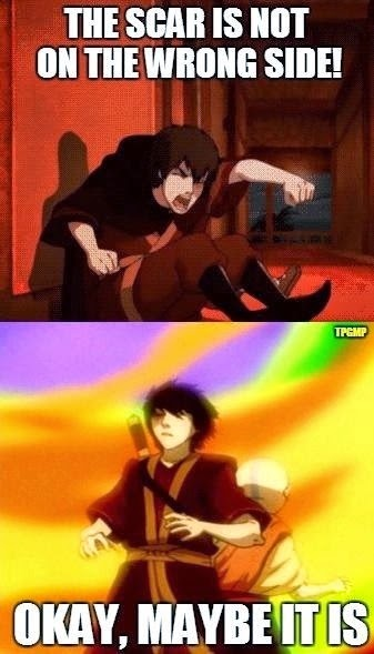 Avatar The Last Airbender Mistake - Zuko's scar on the wrong side