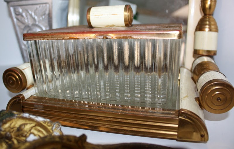 Art Deco glass box jar on mirror tray