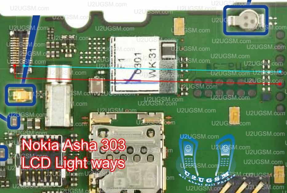 Nokia-Asha-303-LCD-light-Problem-Jumpers-Solution