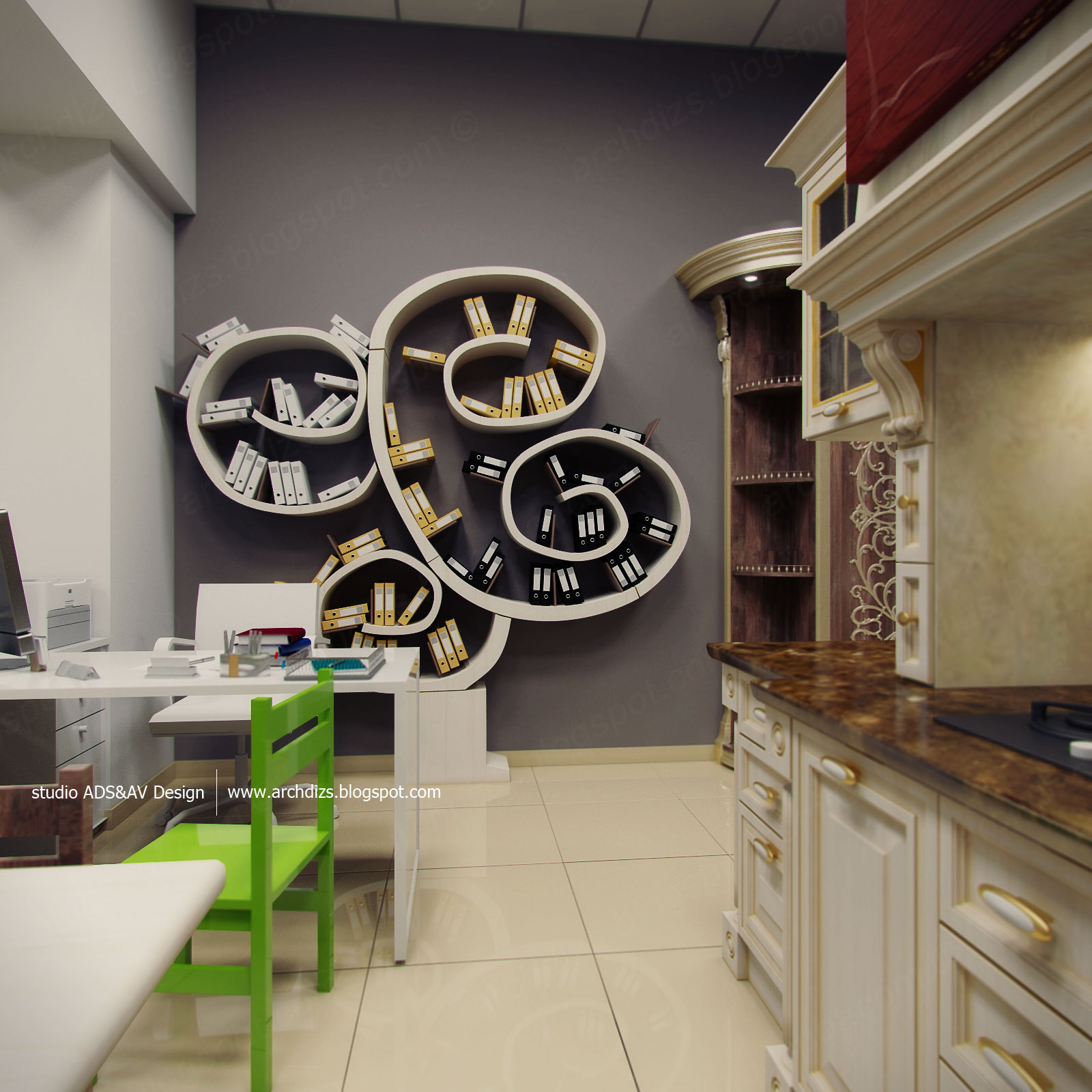 Студия дизайна 3d визуализация комнаты