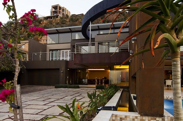 Modern villa driveway