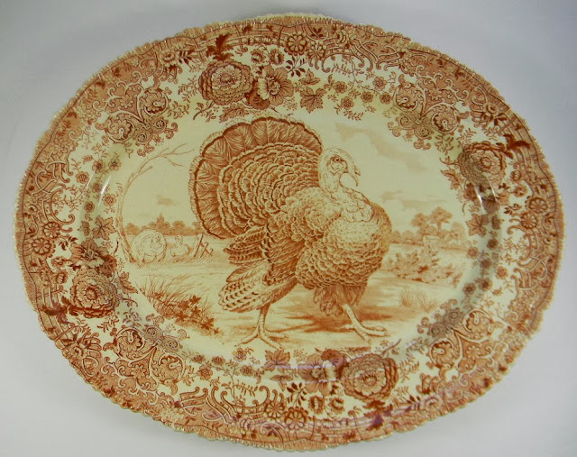circa 1891-1920 Ridgway Brown transfer ware Turkey Platter