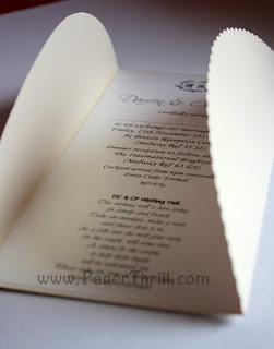 Handmade gate fold wedding invitation