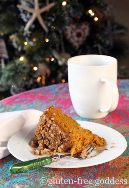 A slice of gluten free pumpkin crumb cake