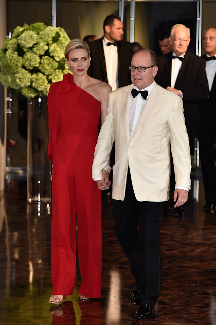 Princess Charlene red dress