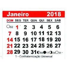 CALENDÁRIO JANEIRO 2018