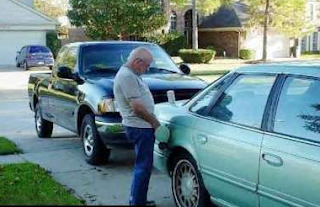 funny picture of old man refueling