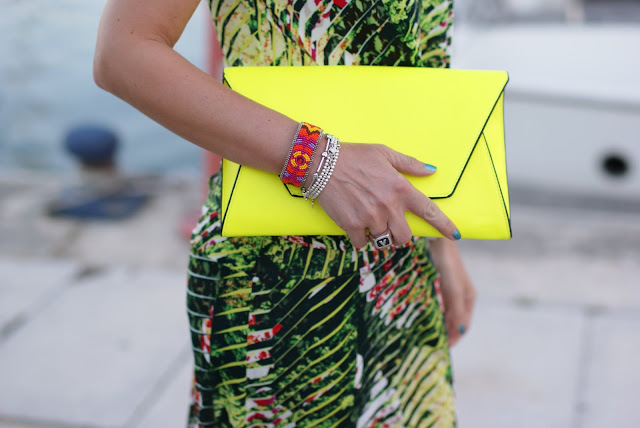 Zara neon clutch, Sodini bracelet, Chanel Azuré nail polish, Fashion and Cookies
