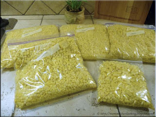 whole kernel corn packaged for freezing