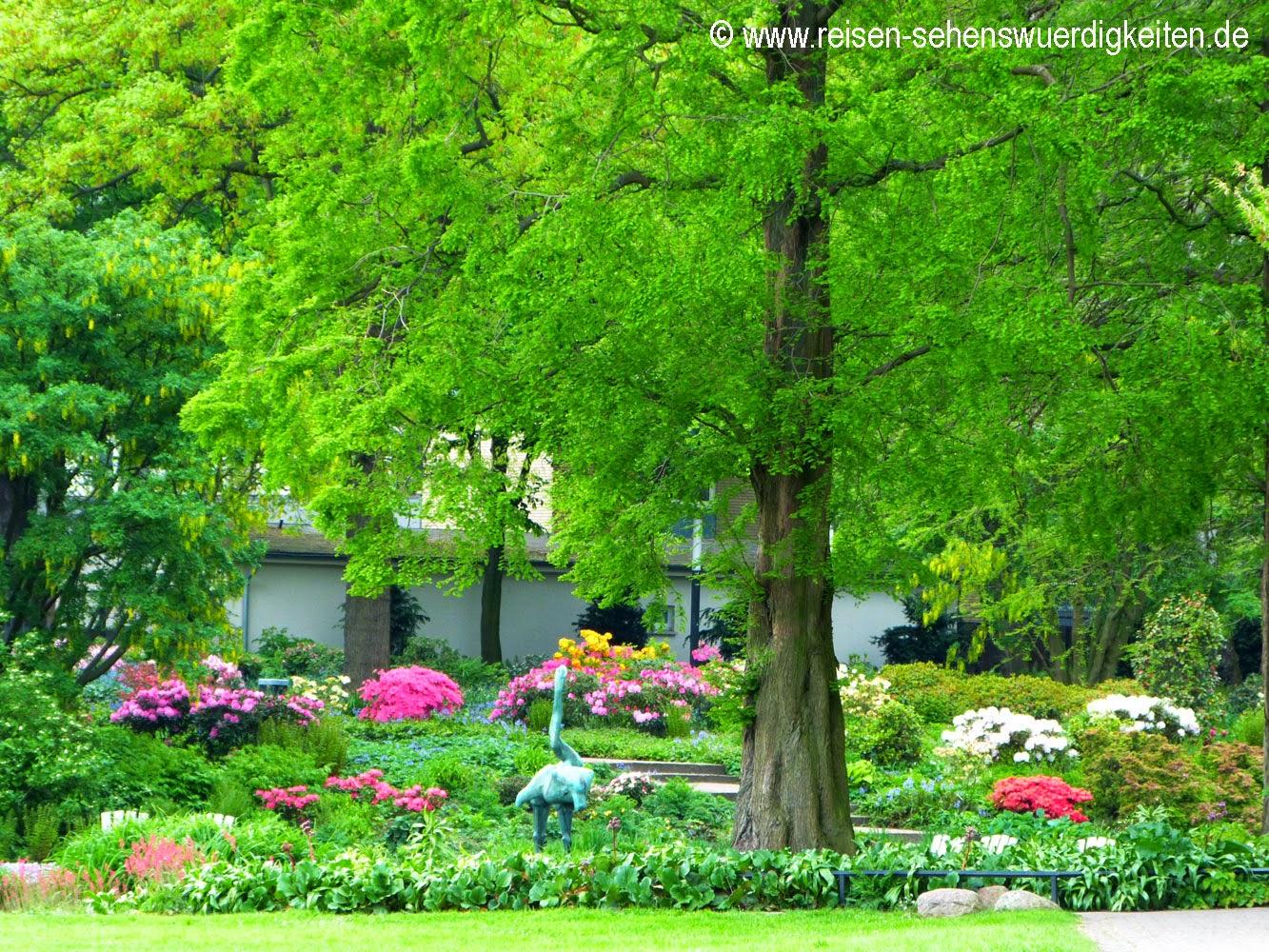 Planten un Blomen - Schönster Park in Hamburg, bunte Blumen unterm Baum
