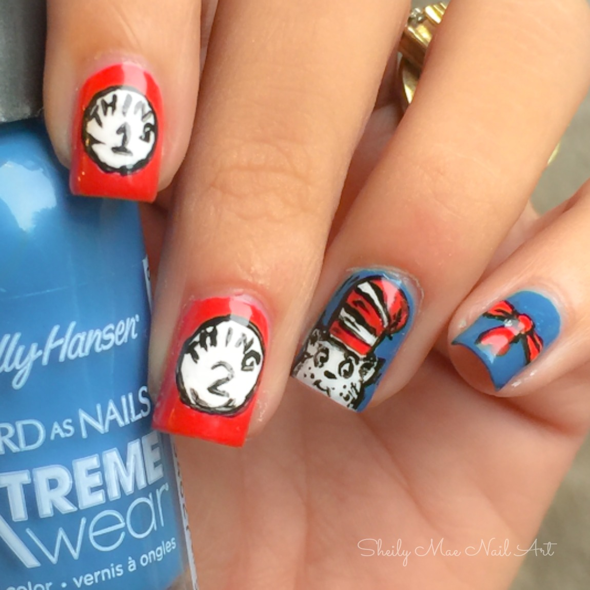 Cat in the Hat Nail Art + Besties Twin Nails - Sheily Mae Nail Art