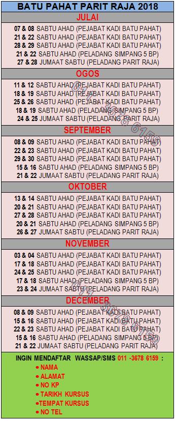 JADUAL KURSUS KAHWIN BATU PAHAT JULAI-DISEMBER 2018