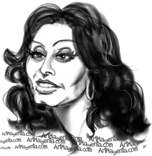 Sophia Loren caricature cartoon. Portrait drawing by caricaturist Artmagenta.