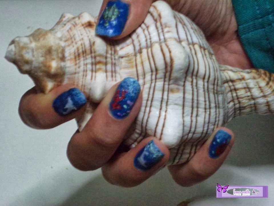 Uñas fondo marino,  lara nails