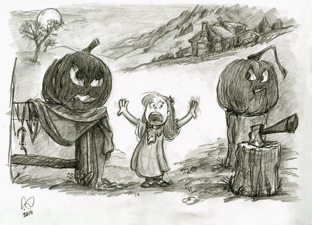 Halloween Girl Separating Pumpkin Heads Dispute - illustration drawing in pencil by Cesare Asaro - Creative Director at Curio & Co. (Curio and Co. - www.curioanco.com)